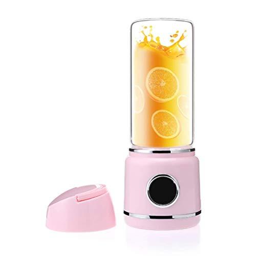 Máquinas de exprimidor, taza de jugo eléctrico, Juicer USB 6 Blades Smoothie puede cargar su teléfono 420ml Copa de jugo eléctrico LED Pantalla de alimentación perfecta for la fruta Baby Food Milk Sha