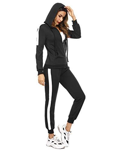 Aibrou Traingsanzug Damen Jogginganzug Zweiteiler Set Frauen Sportanzug Freizeitanzug Fitness Zipper Hoodie Sweatshirt + Lange Hose Streetwear Outfit Sport Bekleidungsset