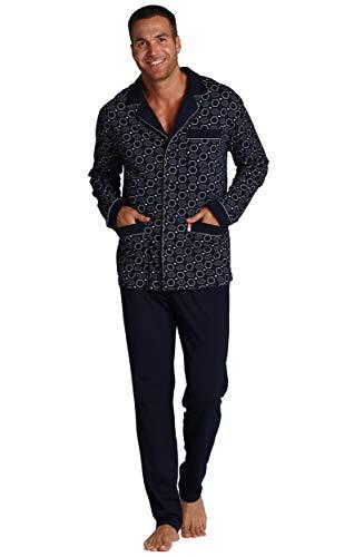 FOREX Lingerie edler Herren-Pyjama aus 100{4fb03c003940a9d774f35adace837e5e3d116d6503e17b56b8b2d4765c82626d} Baumwolle, Verschiedene Modelle (XXL, Dunkelblau Gemustert)