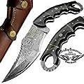 Buffalo Horn 9.5'' Fixed Blade Custom Handmade Knife Damascus Steel Hunting Knife karambit Hunting Damascus Steel Knives Prime Quality Fixed Blade Hunting Knife