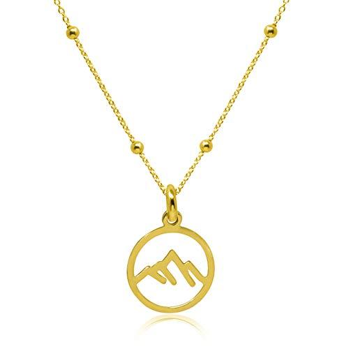 WANDA PLATA Collar Montaña para Mujer, Chica Joven, en Plata de Ley 925 con Baño de Oro, Colgante Montañas