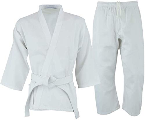 Knockout Martial Arts Karate Uniform for Kids & Adults Lightweight Gi Costume with Free Belt (White, 00000)