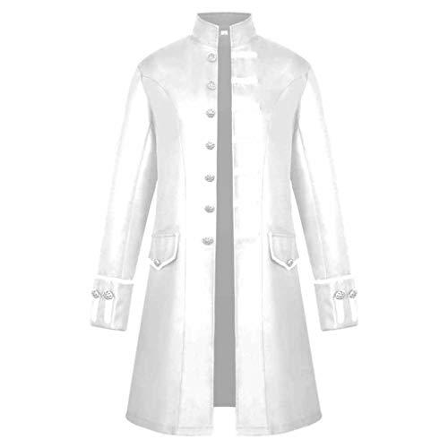 AmyGline Herren Punk Retro Mäntel Steampunk Langarm Jacke Mittellang Gotische Mantel Mittelalter Kostüm Cosplay Uniform Gehrock für Männer