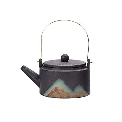Sunferkyh Tetera De Cerámica Tetera De Cerámica Creativa Pintura Esmalte Brewing Tetera con Haz Pot For El Té A Granel Bolsas Adecuado para Reuniones Familiares (Color : Black, Size : 200ml)