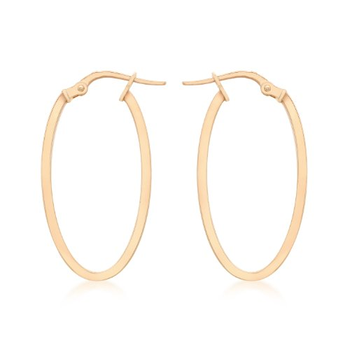 Carissima Gold Damen 14 mm x 30 mm Oval Creole Ohrringe 9k (375) Rotgold 1.48.9869