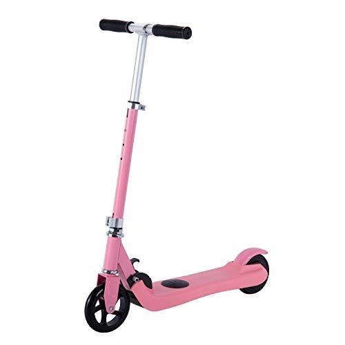 Scooter eléctrico para niños de 6 a 12 años, con sensor de gravedad Kick Start Scooter motorizado para niños y niñas pequeños, altura ajustable, plegable, ruedas ligeras de 14,5 cm (polvo)