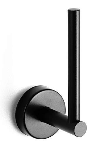 Kapitan Toilettenpapierhalter Vertikal WC Ersatzrollenhalter Klopapierhalter Poliert Edelstahl 3M VHB Klebeband Wandmontage Selbstklebend Ohne Bohren Made in der EU (Schwarz matt)