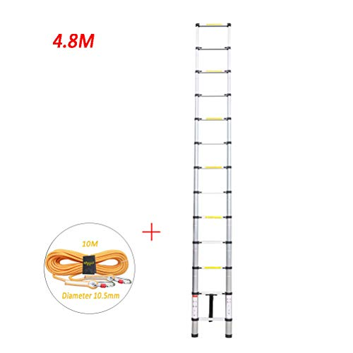 Telescopische Ladder 4.8M, Multifunctionele Aluminium Draagbare Uitschuifbare Ladder Zware Ladder Voor Loft Indoor Outdoor Office House Max 150Kg 15 Stappen