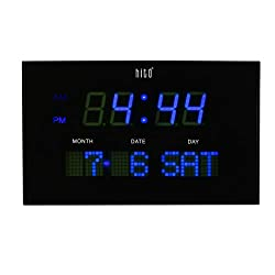 hito 10.6 Large LED Wall Clock Date Day 3 Adjustable Brightness Memory Function, Adapter Included (Blue 10.6)