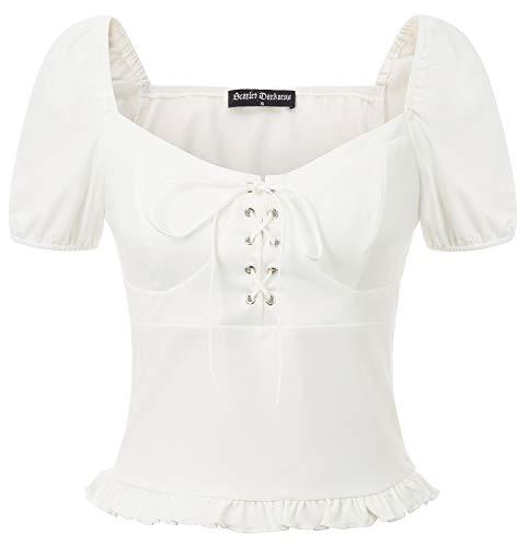 SCARLET DARKNESS Camisa Mujer Renacimiento Cordones