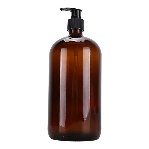 Cabilock Bouteilles de Pompe de Shampooing Rechargeable en Plastique Vide Shampooing Conditionneur Distributeur de Douche Distributeurs de Bouteilles de Pompe 1000 ML Brun
