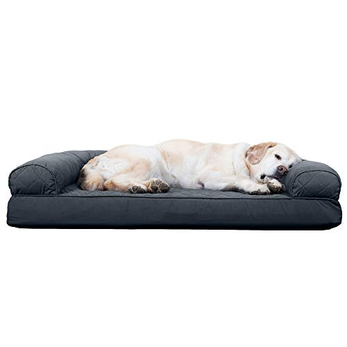 Furhaven Pet Dog Bed - Cooling Gel Memory Foam Quilted Traditional Sofa-Style Living Room Couch Pet Bed with Removable Cover for Dogs and Cats, Iron Gray, Jumbo