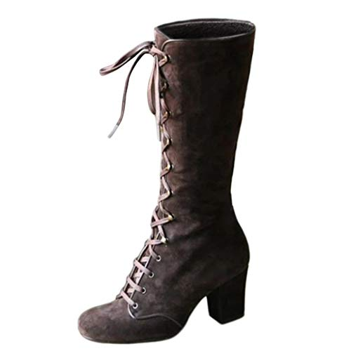 Allegorly Schuhe Damen Mittlere Stiefel Mittelalterliche Vintage Schnürstiefel Warme Winter Retro Stiefel High Heels Langschaftstiefel Overkneestiefel