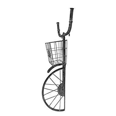 Red Co. Industrial Style Front Bike Basket Wall Shelf Décor and Planter