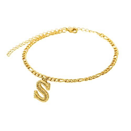 lefeindgdi Pulseras de tobillo chapado en oro de 18 quilates collares para mujeres personalizadas alfabeto tobillo pulseras joyería pie