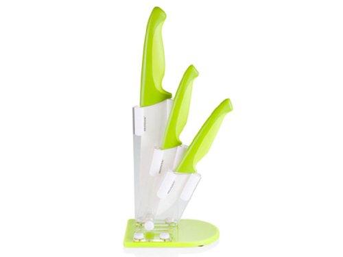 Brandani Ceppo in Plexiglass Verde con 3 Coltelli In Ceramica Con Manico In Polipropilene