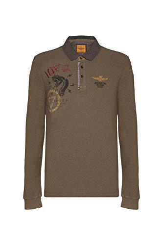 Aeronáutica Militar Polo PO1375 verde militar, piquet, hombre, mezcla lana, camiseta 39239 Verde Militare XXL