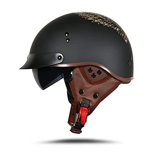 LIONCIANO Casco Moto Harley Per Adulti Casco Scooter Approvato DOT/ECE, Casco Semiaperto Con Occhiali(Ali Della Libertà, M 57-58cm)