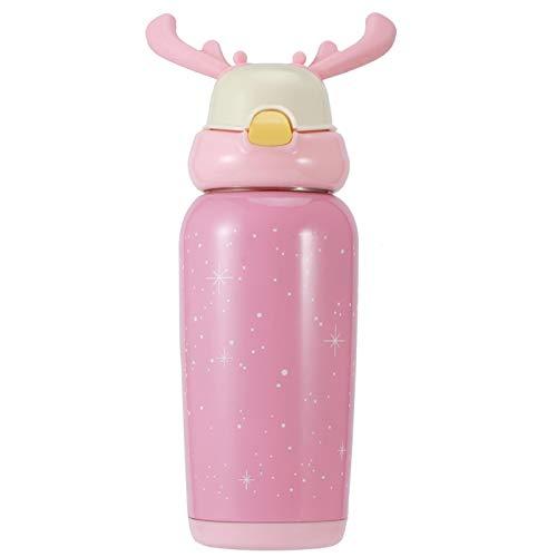 Omabeta Edelstahl 500 ml mit Stroh-EIN-Knopf-Sprungschalter mit guter Dichtleistung Thermoflasche Niedlich für Kinder(Pink)