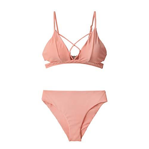 D&STBKI - Conjunto de bikini de cintura alta para playa rosa XXL