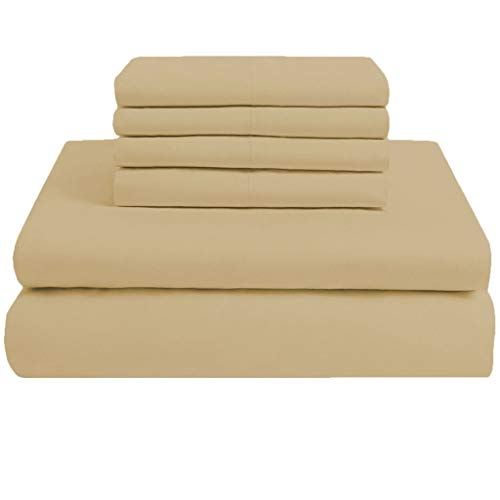 Scala Bedding 23 Inch Deep Pocket 100% Egyptian Cotton 6 Piece 800 Thread Count King Size Solid Sheet Set Taupe