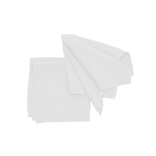 Pichler Serviette Lexa aus 100% Leinen, 40 x 40 cm, brilliantweiß, Größe Tischwäsche:Servietten 40 x 40 cm