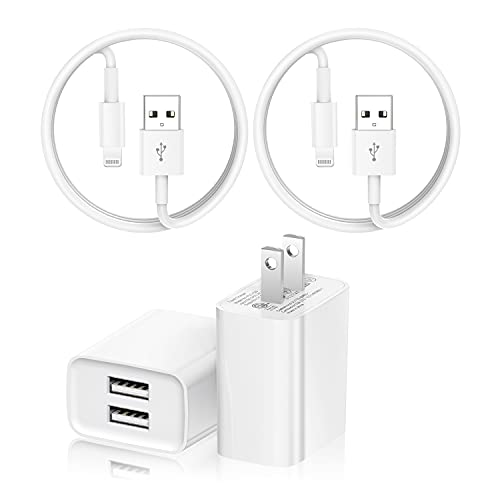 iPhone Charger, 2Pack USB Wall Plug Charger Plug Adapter with Apple Certified Lightning to USB Fast Charging Cable 6ft, Compatible with iPhone 12/11/11Pro/11Max/ X/XS/XR/XS Max,ipad