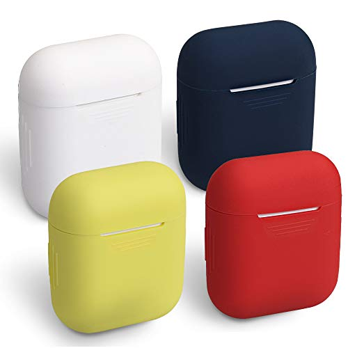 Funda para AirPods HomEdge, 4 Paquetes de Funda Protectora de Silicona sin Costuras para Apple AirPods, Color Blanco, Rojo, Amarillo y Azul Medianoche