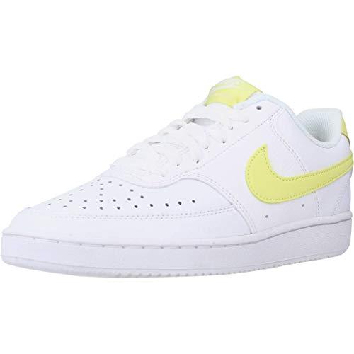 Nike Wmns Court Vision Low, Zapatillas de bsquetbol Mujer, White Lt Zitron BRT Mango, 36.5 EU