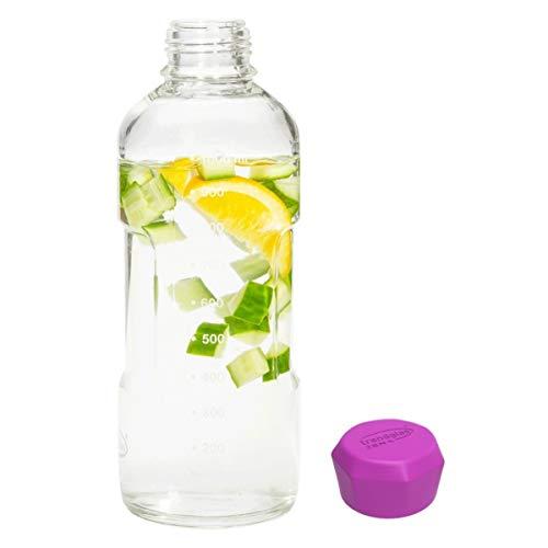 Trendglas Jena Glasflasche/Trinkflasche to go aus Borosilikatglas mit Skala - violetter Verschluss, 1000 ml