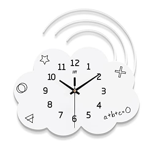 Reloj De Pared con Forma De Nube Blanca, Reloj De Pared Silencioso De Madera, Funciona con Pilas, Sala De Estar, Dormitorio, Decoración De La Habitación De Los Niños, 34 X 34 Cm