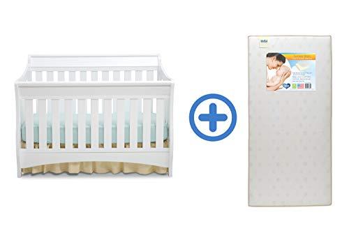 Delta Children Bentley S Series 4-in-1 Crib, White with Twinkle Stars Crib & Toddler Mattress