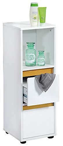 KESPER 91464 Badregal mit zwei Schubladen, weiß, 30 x 88,5 x 29 cm
