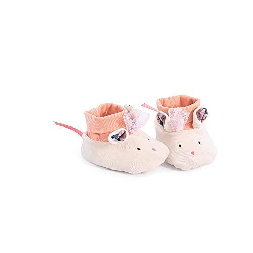 Par de Sapatinhos Moulin Roty para bebe em tecido Ratinha Era Uma Vez