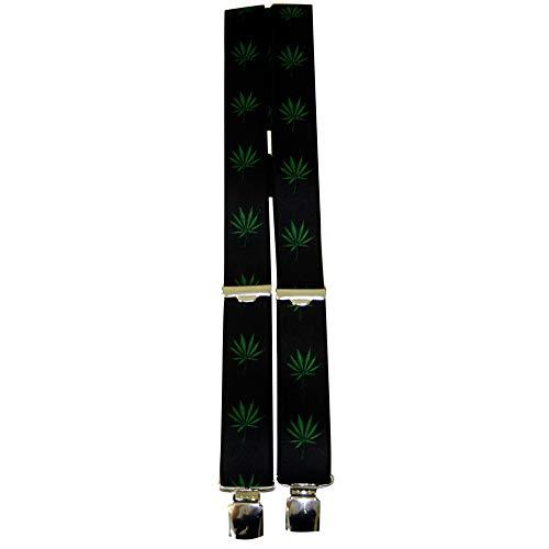 Fan-O-Menal Hosenträger mit Print - Kanabis Hanf Pflanze - 06606 - schwarz