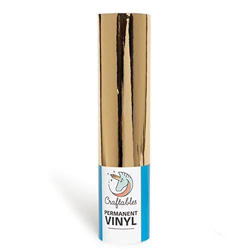 Chrome Gold Gloss Permanent Adhesive Craft Vinyl Roll 12' x 10' | Craftables...