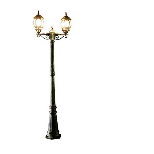 *Rustikale Standleuchte in antikgold gewischt inkl. 2x 12W E27 LED Stehleuchte aus Aluminium Glas Stehlampe für Garten Terrasse Weg Lampe Leuchten Beleuchtung außen*