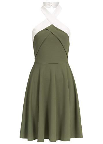 Styleboom Fashion® Damen Mini Neckholder Kleid Gummizug hinten ärmellos Military grün Weiss, Gr:M