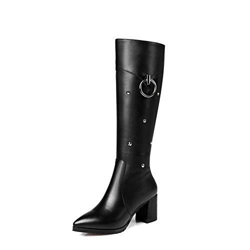 Damskie buty do kolan, modne szpiczaste noski grube buty na wysokim obcasie z zamkiem błyskawicznym rycerskie, jesienne i zimowe buty damskie ze skóry wołowej (Color : Black, Size : 45 EU)