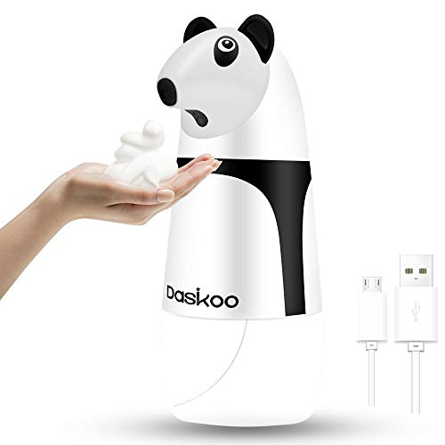Daskoo Recargable Dispensador de Jabón de Espuma Automático sin Contacto con Sensor de IR, Niños Estilo Lindo Panda Dosificadorde Jabón Impermeable para baño de Cocina,sin bpa 280ml