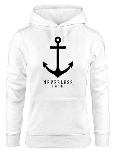 Neverless® Hoodie Damen Anker Nautical Sailor Segeln Kapuzen-Pullover für Frauen weiß XL