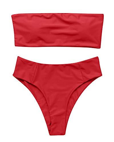 OMKAGI Women's 2 Pieces Bandeau Bikini Swimsuits Off Shoulder High Waist Bathing Suit High Cut(Large,Red)