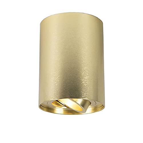 QAZQA - Modern Spot | Spotlight | Deckenspot | Deckenstrahler | Strahler | Lampe | Leuchte Gold | Messing | Messing dreh- und neigbar - Rondoo up | Wohnzimmer | Schlafzimmer | Küche - Aluminium Zylind