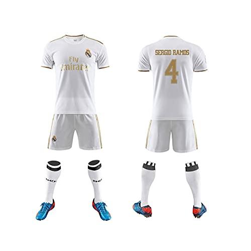GAOjie Camisetas de fútbol para hombre, camiseta + pantalones cortos + calcetines, camiseta con estampado Rěǎī-Mǎdrid5 ropa de entrenamiento, uniforme de fútbol para niños y adultos Largo /
