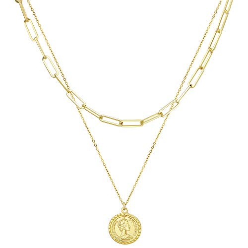 JSJOY Gold Medallion Necklace for Women Layered Coin Necklace Chain Vintage Virgin Mary Necklaces for Women Girls