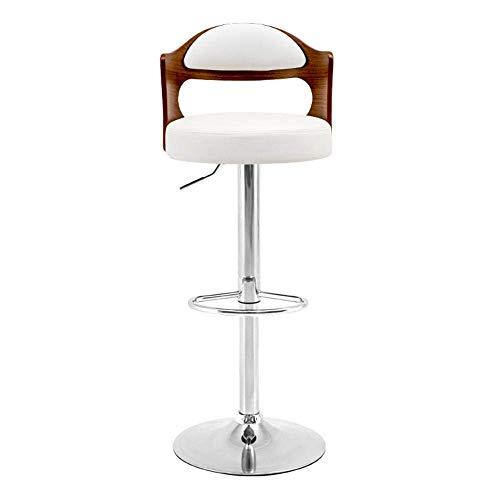 WBDZ Moderne Barhocker Holz Barstühle Frühstück Esszimmerhocker für Kücheninsel Theken Barhocker Kunstleder verstellbare Drehhocker-Black_Walnut_White