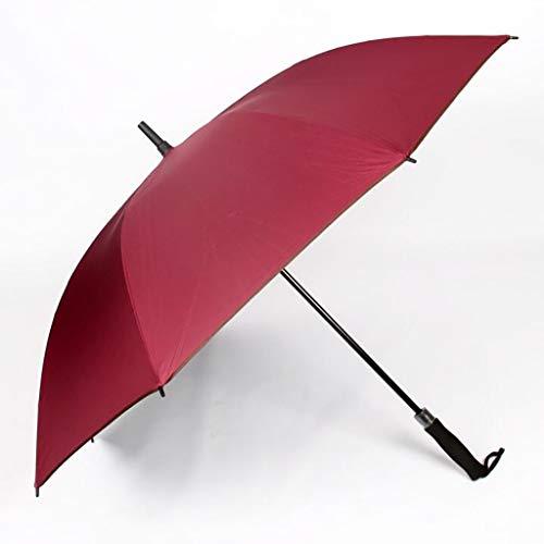 Golfschirm True Zero Transmission Schwarzer Kleber Anti-UV Gerader Regenschirm Langer Regenschirm Werbegeschenk Regenschirm Sonnencreme (Rot)