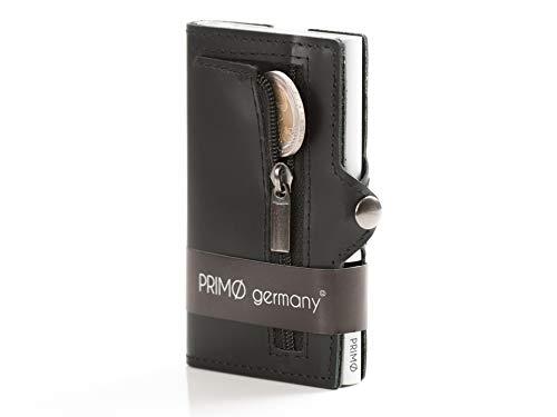 PRIMØ germany® Slim Wallet Swipe mit Münzfach und RFID-Schutz und Ummantelung aus echtem Leder I Für Herren und Damen I Case in Silber I Schwarzes Leder