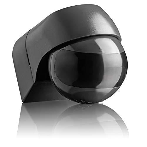 SEBSON® Bewegungsmelder Aussen IP44 Aufputz, Anthrazit, LED geeignet, programmierbar, Infrarot Sensor Reichweite 12m / 180°, Wand Montage schwenkbar, 3-Draht