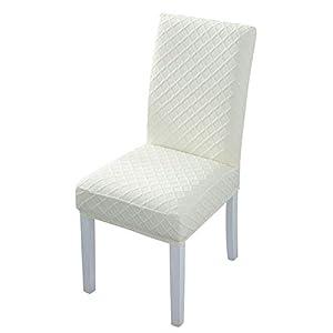 Padgene Fundas elásticas para sillas de comedor - Fundas de licra extraíbles y lavables para sillas altas 4 PIEZAS diamante beige
